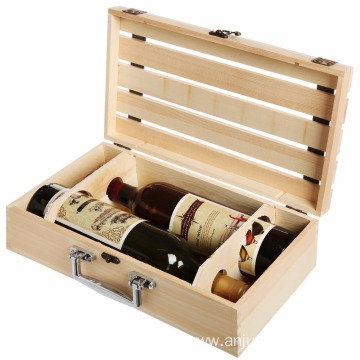 2 Wine Bottle Travel Storage Box Carrying Display Case