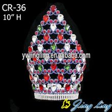 professional factory provide for Full Round Pageant Crowns Gold Plating Colored Rhinestone Tiara Full Round Large Pageant Crown export to Djibouti Factory