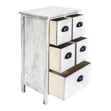 5 drawers bedroom wood bedside table  Bedside Table Cabinet Wood shabby White 5 Drawers Bedroom