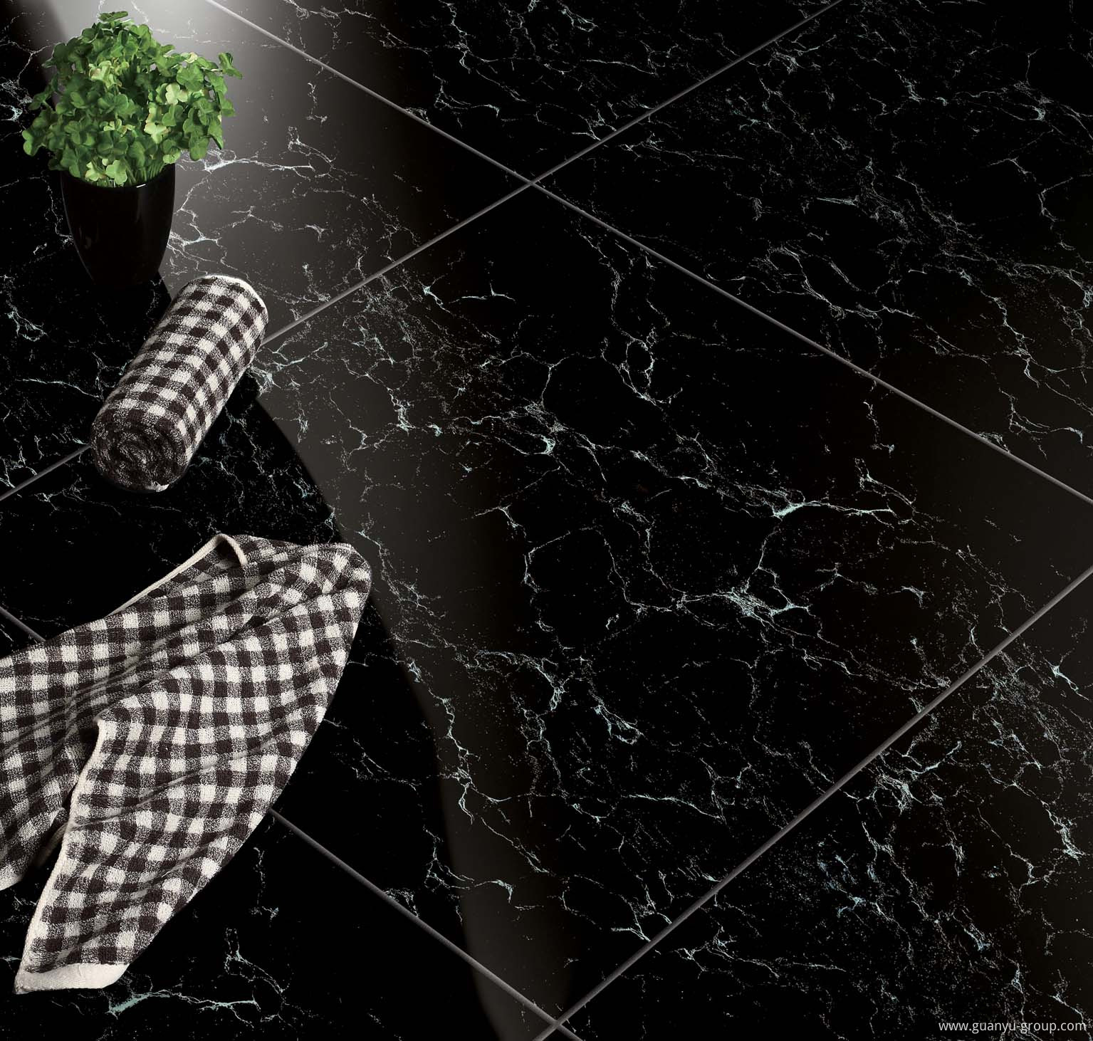 Luxury Black Polished Porcelain Floor Tile