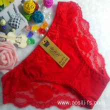 OEM wholesale cheap red sexy girls panty comfortable lace cotton high level fancy underwear 873
