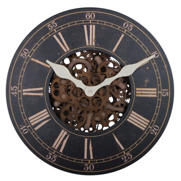 Classic 22 Inch Wooden Wall Gear Clock