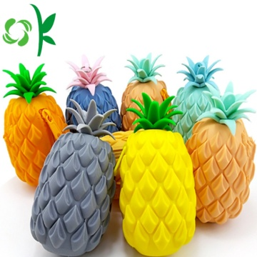 Pineapple Shape Silicone Coin Purse Holder With Zipper