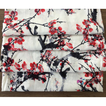 Plum Blossom Pattern 100% Rayon Printed Fabric