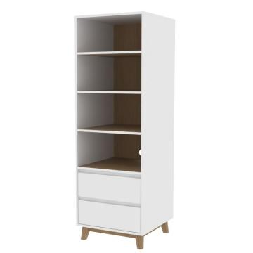 Contemporary wooden Bookcase with Cabinet and Drawers