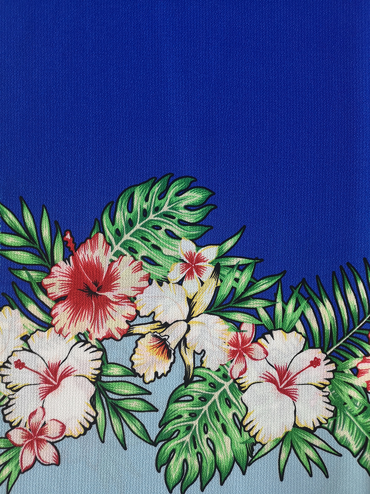 Border Flower Polyester Bubble Crepe Printing Fabric