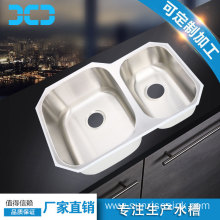 Undermount double bowl kitchen sink