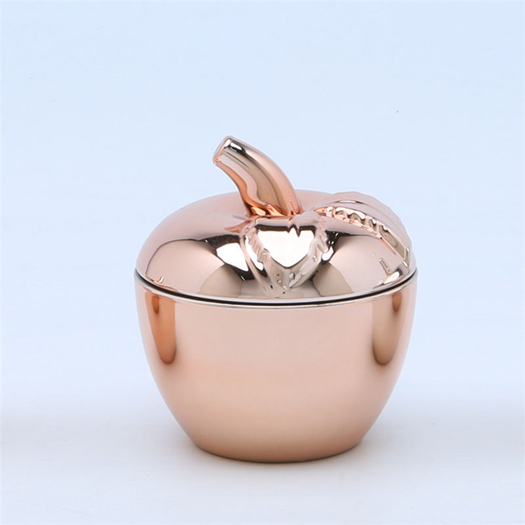 Apple Shape Hand Pressed Electro Plating Candy Glass Jar1