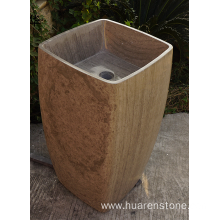 Wooden grey marble pedestal sink