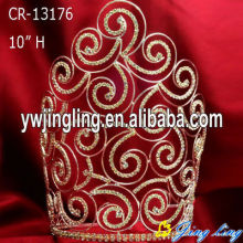 "Cheap PriceList for Rhinestone Pageant Crowns 10"" Gold plated wire curved pageant crowns wholesale supply to Bahrain Factory"