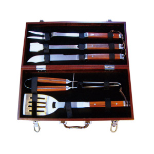 5pc wooden handle BBQ tool set