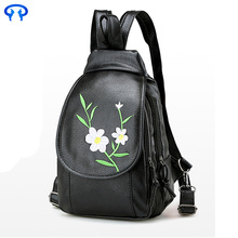 Ladies black casual leather backpack