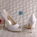 Peep Toe Bridal Shoes Lace with Platform