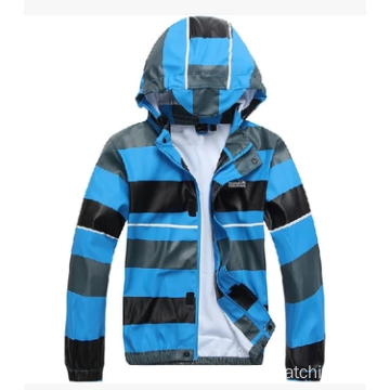 Waterproof Kids Light Rain Jacket With Strips