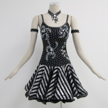 Short Lead Time for Girls Latin Dress Black latin dance dress export to Dominican Republic Importers