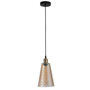 Modern Round amber Hand Blown Glass Pendant Lamp