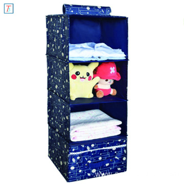 4 Shelf Storage Organizer 600D Oxford Fabric Shoes Clothing Underwear Sundries Hanging Closet Organizer with Drawer