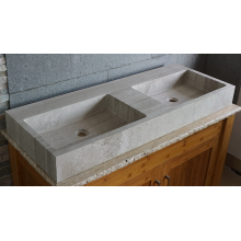 Wooden grey marble double sink