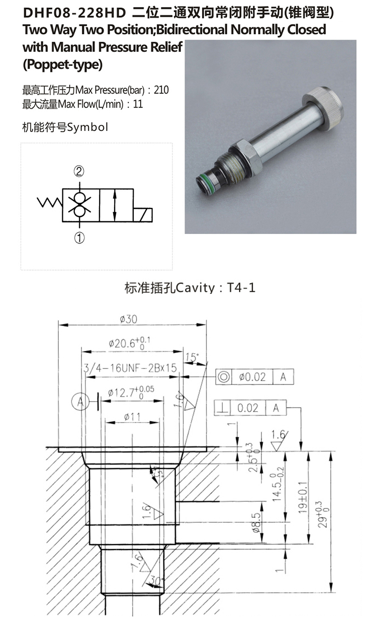 Hydraulic Spool Type Bidirectional Solenoid Cartridge Valve