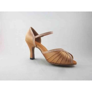 Flesh satin salsa shoes for ladies
