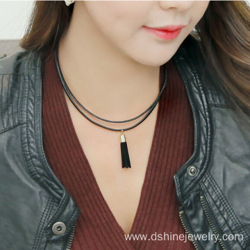 Good Quality for Black Pu Leather Tassel Double Layered leather necklaces with tassel charm necklace export to Poland Factory