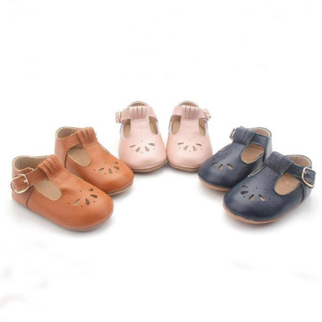 T Bar Genuine Leather Baby Dress Shoes