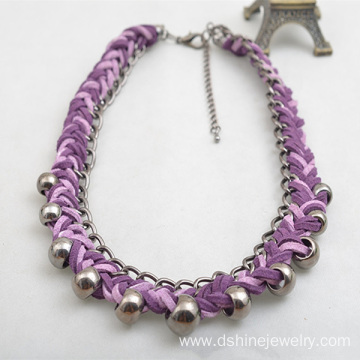 China for Purple Vintage Necklaces Velvet Weaved Collar Personalized Necklaces With Silver Bead export to Gabon Factory