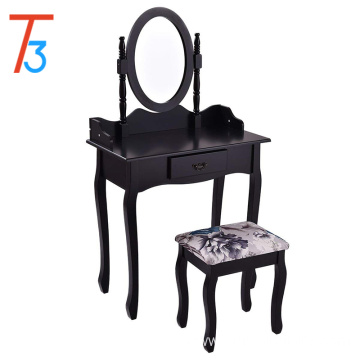 Black vanity wood makeup dressing table stool set desk drawer
