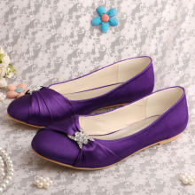 Purple Bridal Shoes Flats Closed Toe
