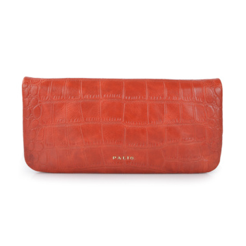 Zip Top Clutch Bag Red Hand-dyed Smooth Leather