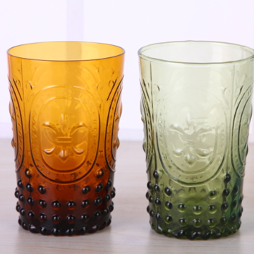 Solid Color Fleur-de-Lis Water Glass Tumbler