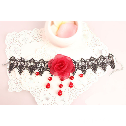 Collier Fashion dentelle collier perle Rose rouge dentelle