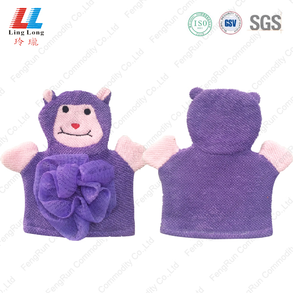 Microfiber animal shower gloves sponge