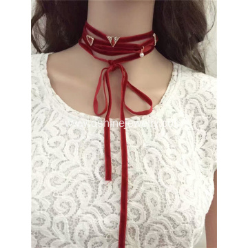 Multi-layer Wrapped Velvet Choker Heart charms Tie Necklace