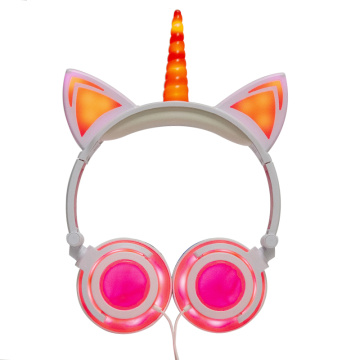 LIMSON Unicorn Cat Headphones for Tablet Kids، Wired Over Ear Earphones School Supply with Flashing LED Light
