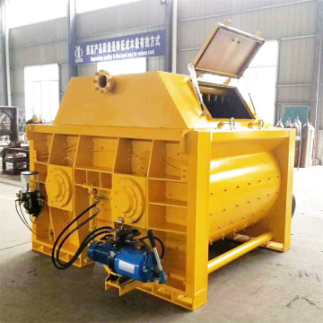 Portable dual horizontal shaft concrete mixer