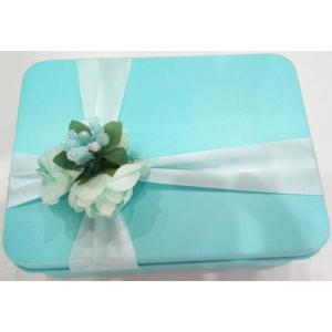 Rectangular Biscuit Tin Box wih Flower Decoration