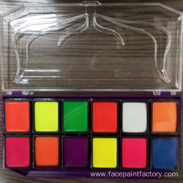 Water based UV neon body face paint kit