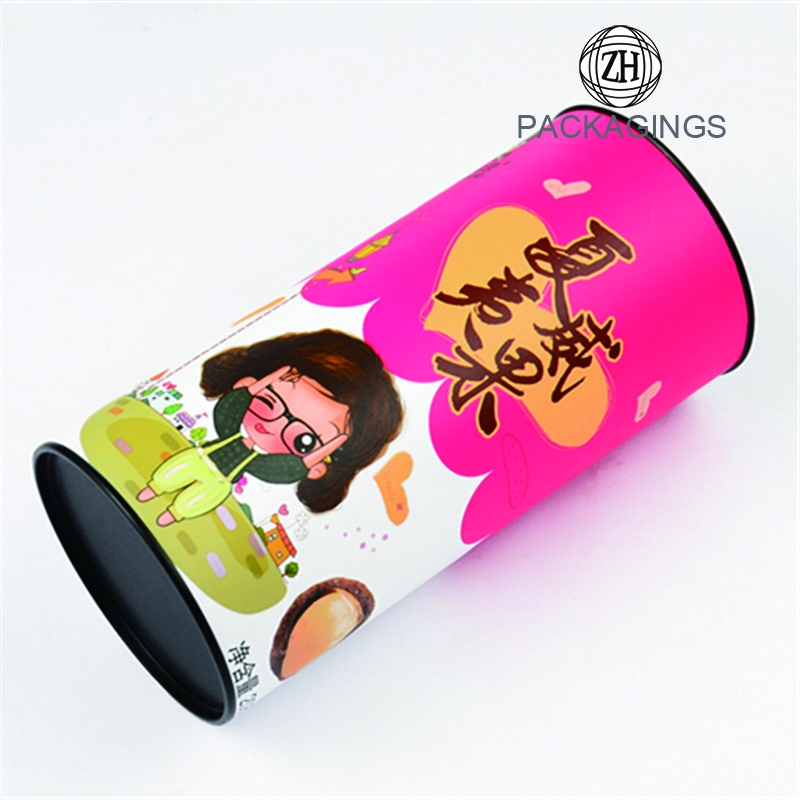 Custom colored food paper tube packaging for nuts