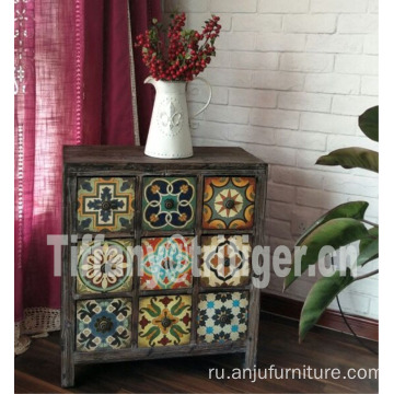 Caoxian furniture 100% solid wood printing color antique vintage cabinet