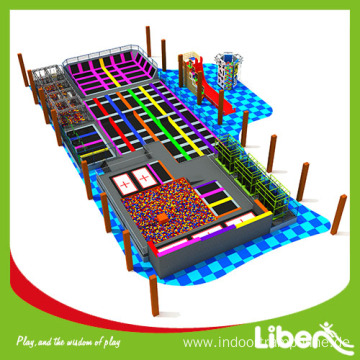 indoor trampoline park with ninjia course