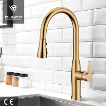 High Arc Swivel Spout Golden Kitchen Faucet Taps