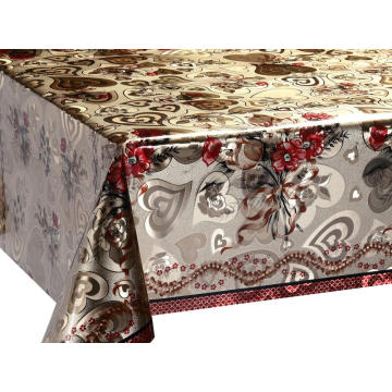 Quality Double Face Emboss printed Gold Silver Tablecloth