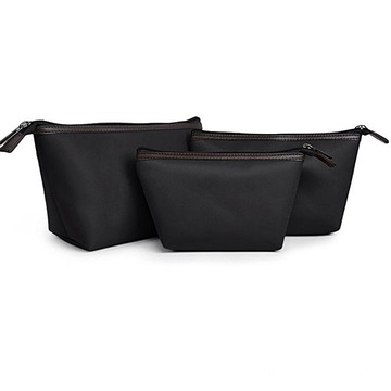 Black Zippered Convenient Small Cosmetic Makeup Bag