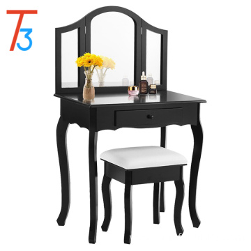 Bathroom Vanity Makeup Table Set w/ Tri-folding Mirror & Cushioned Stool Dressing Table (Black)
