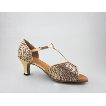 1.5 inch girls gold latin shoes