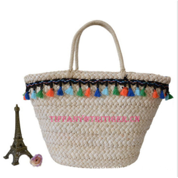 2017 corn husk straw bag women fashion natural color tote bag