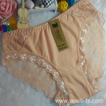 OEM wholesale new style apricot sexy comfortable lace cotton fancy underwear 807