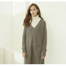 China supplier OEM for Long Cashmere Dresses Ladies V-neck cashmere dress export to Finland Manufacturers