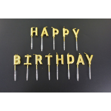 Good quality gold and sliver letter birthday candle